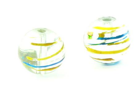 Koraliki Szklane Malowane Transparentne 12mm 1szt